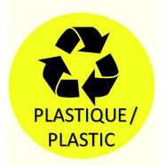 "Sticker ""Plastique"" jaune Ø150mm"