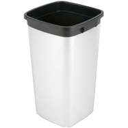 Poubelle carree 60L plastique - Aspect metal