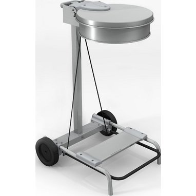 Chariot porte sac a pedale - Inox
